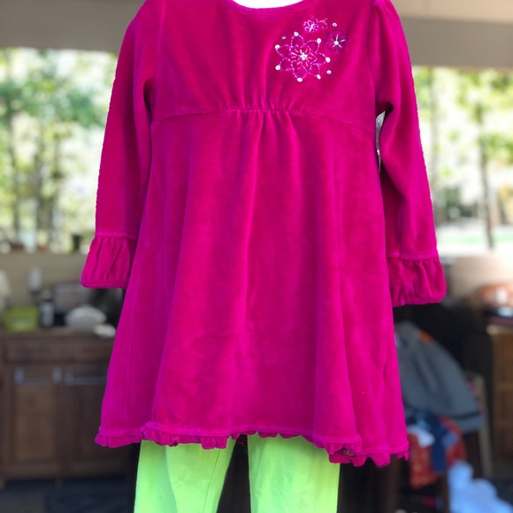 Pink Velour Top. With leggings